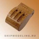Комель-блок, трехшкивный, орех, 16 мм, 2 шт