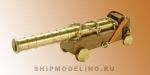 Испанская пушка на станке, латунь и дерево, 40 мм