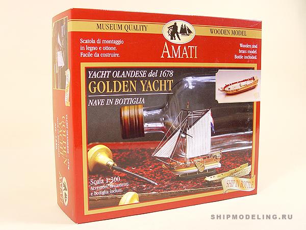 Golden Yacht корабль в бутылке масштаб 1:300