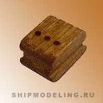 Блок, трехшкивный, орех, 5 мм, 10 шт